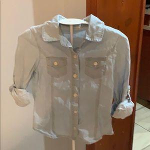 Crazy 8 button up denim shirt for girls size 5/6